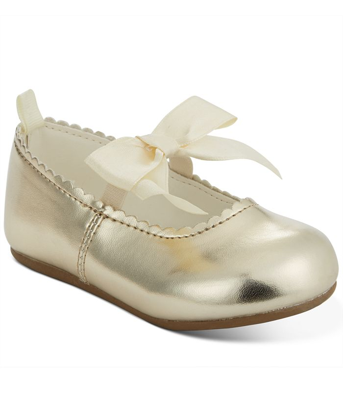 First Impressions - Baby Girls Gold Scallop Walker Flat