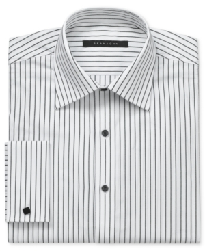 Sean John Dress Shirt Grey and White Stripe Tonal Detail Long Sleeve Shirt with French Cuff