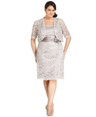 Plus size lace dress with jacket