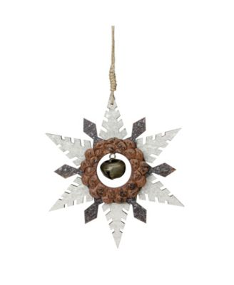 Northlight 6 Brown Wooden Snowflake Christmas Ornament With A Country Rustic Bell Reviews Shop All Holiday Home Macy S