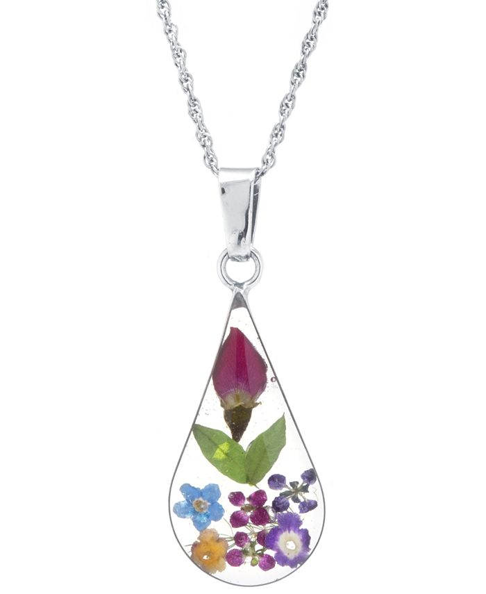 """Giani Bernini - Medium Teardrop Dried Flower Pendant with 18"""" Chain in Sterling Silver. Available in Multi, Blue or Yellow"""