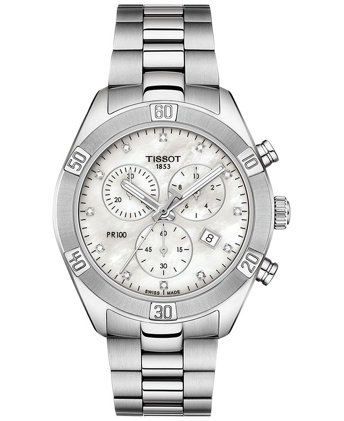 Tissot - Women's Swiss Chronograph T-Classic PR 100 Diamond (1/20 ct. t.w.) Gray Stainless Steel Bracelet Watch 38mm