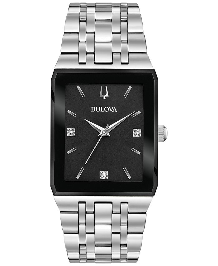 Bulova - Men's Futuro Diamond Accent Stainless Steel Bracelet Watch 30x45mm