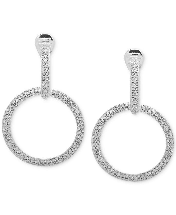 Anne Klein - Silver-Tone Pavé Clip-On Drop Hoop Earrings