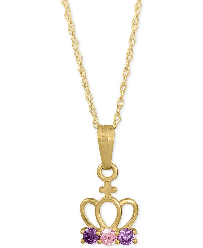 """Macy's - Child's Colored Cubic Zirconia Crown 15"""" Pendant Necklace in 14k Gold"""