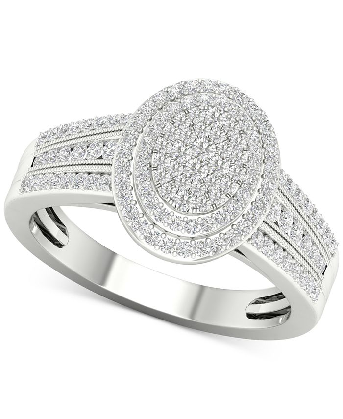 Macy's - Diamond Oval Cluster Statement Ring (1/2 ct. t.w.) in Sterling Silver