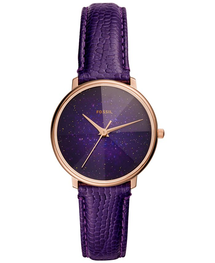 Fossil - Women's Galaxy Purple Leather Strap Watch 33mm