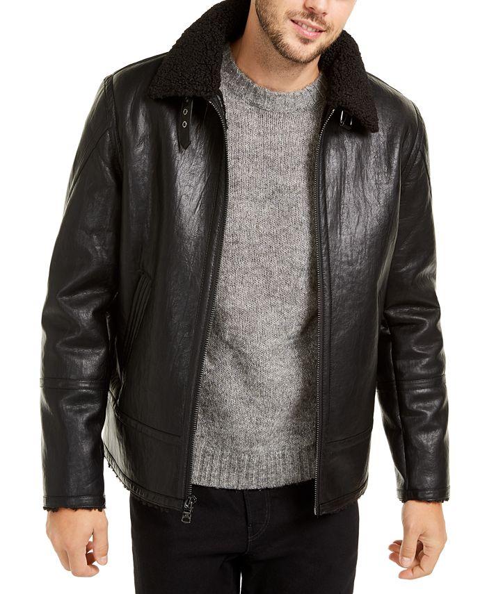 Calvin Klein - Men's Faux Short Shearling Motorcycle Jacket