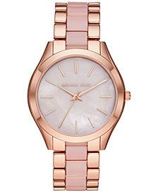 Michael Kors Women's Slim Runway Rose Gold-Tone Stainless Steel & Blush Acetate Bracelet Watch 42mm