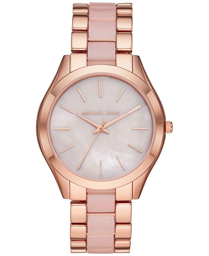 Michael Kors - Women's Slim Runway Rose Gold-Tone Stainless Steel & Blush Acetate Bracelet Watch 42mm