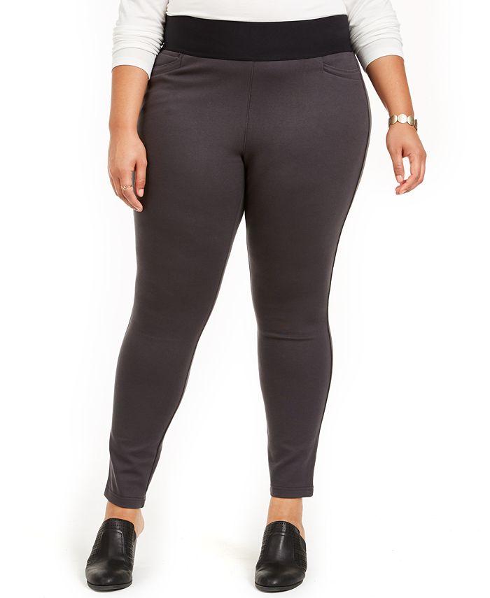 Style & Co - Plus Size Wide-Waistband Ponté-Knit Leggings