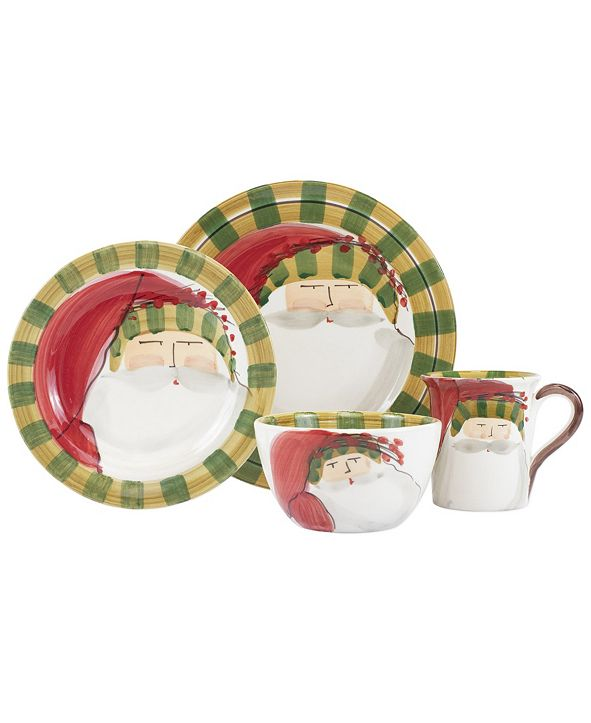 VIETRI Old St. Nick Striped Hat 4 Piece Place Setting