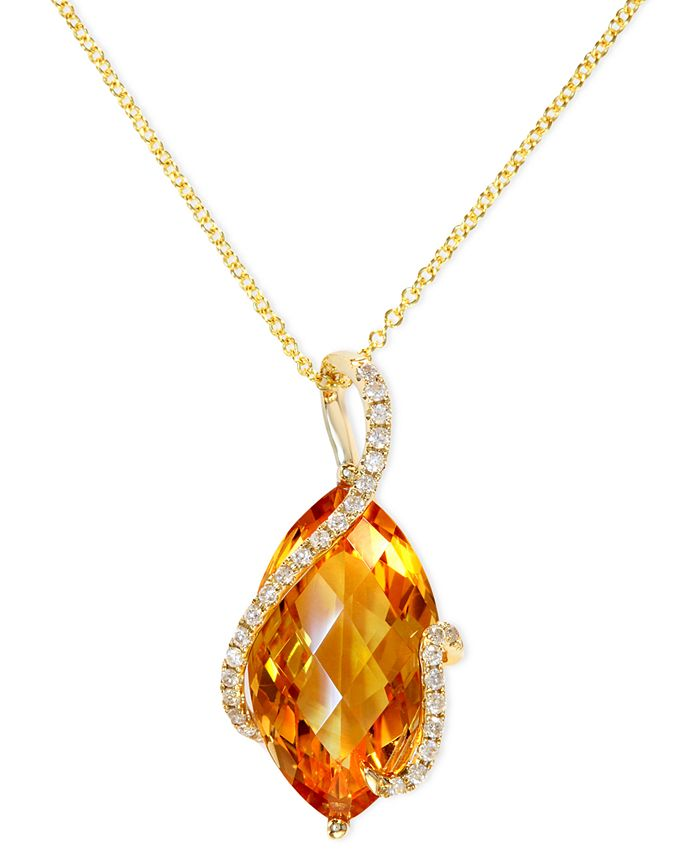 EFFY Collection - Citrine (8-1/2 ct. t.w.) and Diamond (1/8 ct. t.w.) Marquise Wrap Pendant in 14k Gold