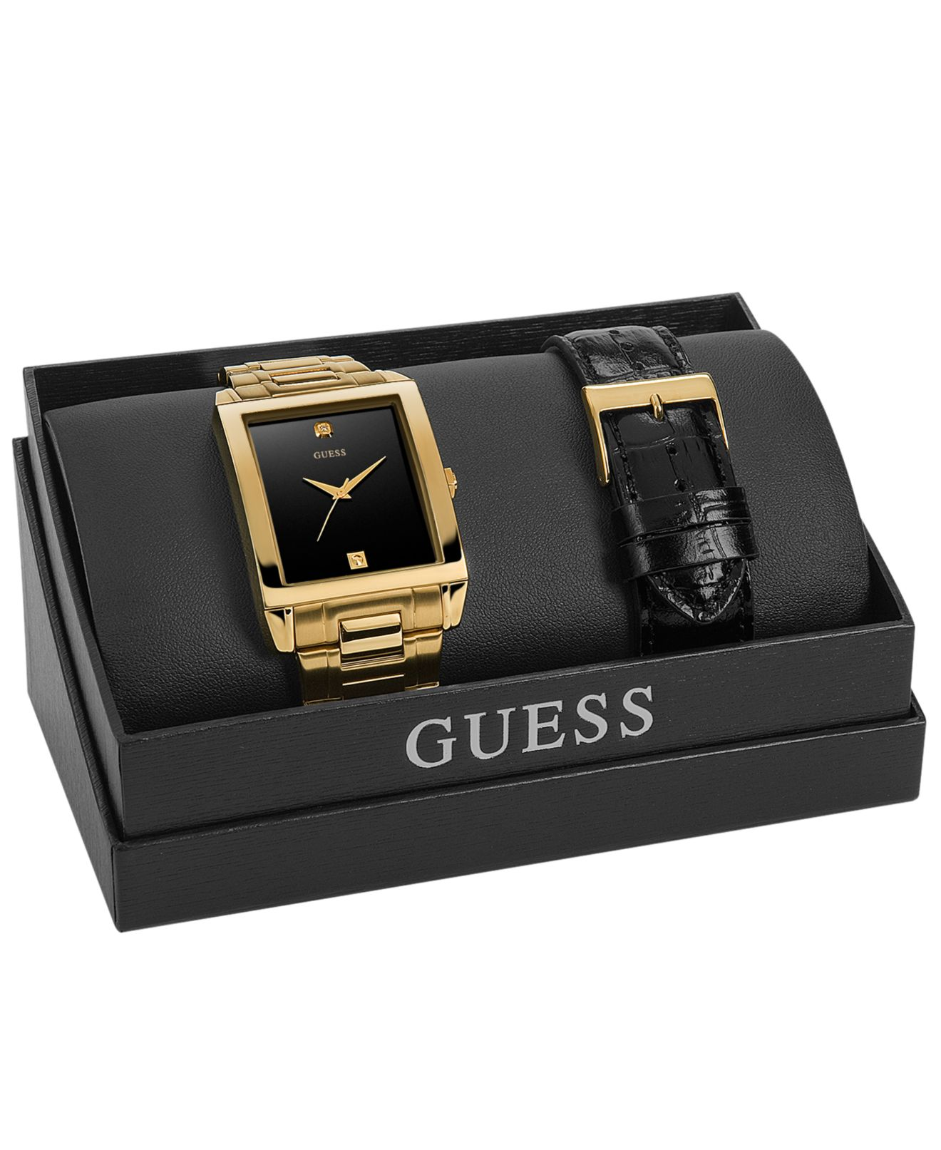 Black Guess Watch With Diamond Guess Watch Set Men's Diamond