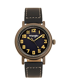 Wrangler Men's Watch, 50MM Antique Grey Case with Blue Dial, White Arabic Numerals, with White Hands, Blue Strap with White Stitching, Over Sized Crown
