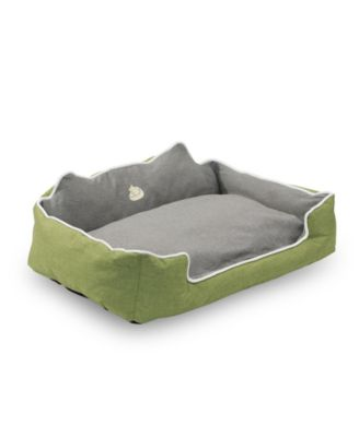 "Water Resistant Rectangle High Back Bolster Comfort Pet Bed, 25""x21"" Dog Bed with Removable and Reversible Insert Cushion"