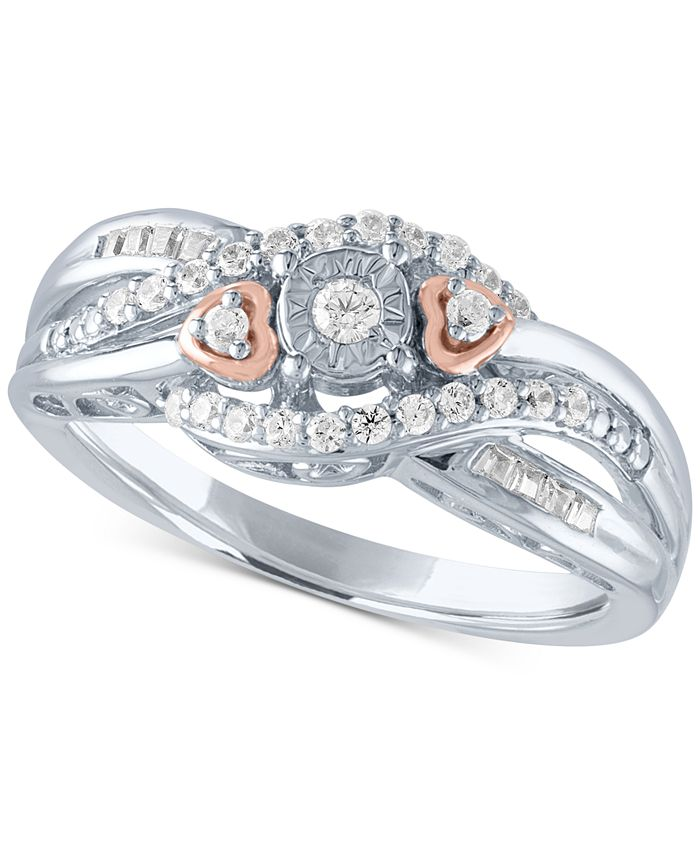 Promised Love - Diamond Promise Ring (1/4 ct. t.w.) in Sterling Silver & 14k Rose Gold-Plate
