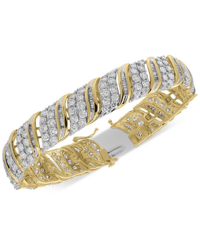 Macy's Diamond Bangle Statement Bracelet (10 ct. t.w.) in 10k Gold & Reviews - Bracelets - Jewelry & Watches - Macy's