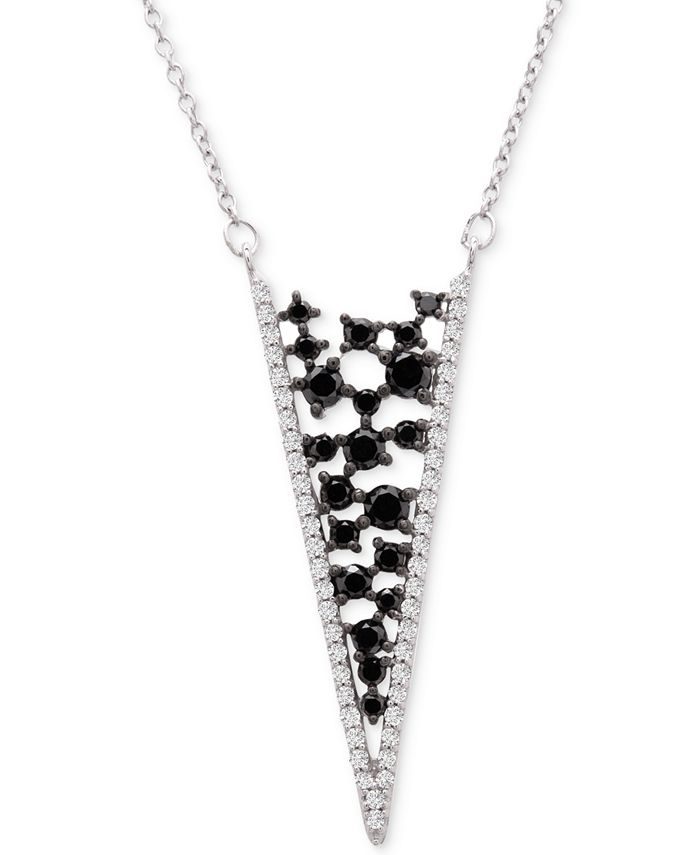 "Macy's - Diamond Scatter Chevron 18"" Pendant Necklace (1-1/2 ct. t.w.) in 14k White Gold"