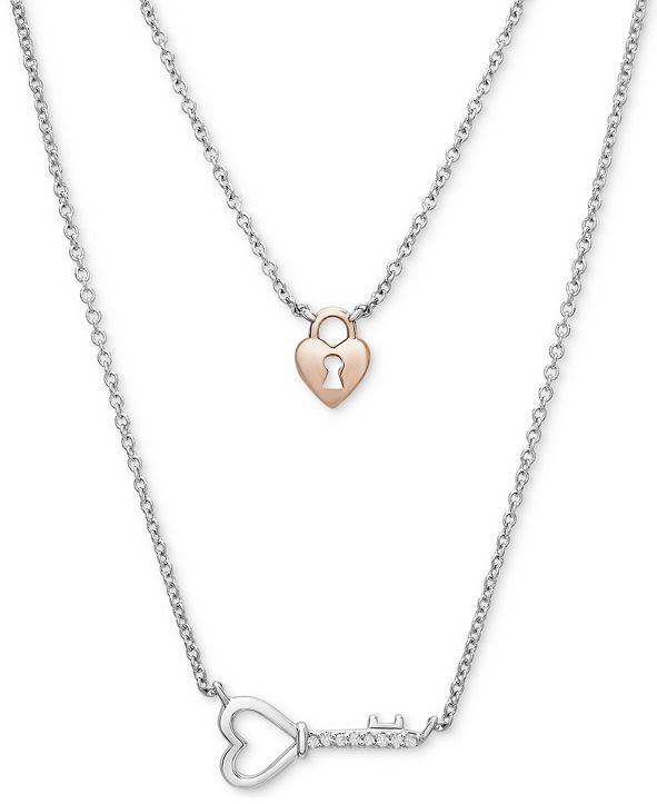 """Macy's Diamond Accent Lock & Key 18"""" Pendant Necklace in Sterling Silver & 10k Rose Gold-Plate"""