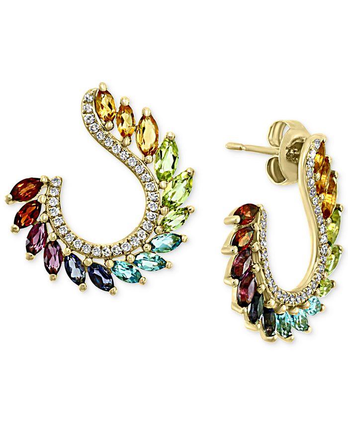 EFFY Collection - Multi-Gemstone (2-1/2 ct. t.w.) & Diamond (1/4 ct. t.w.) Front & Back Hoop Earrings in 14k Gold