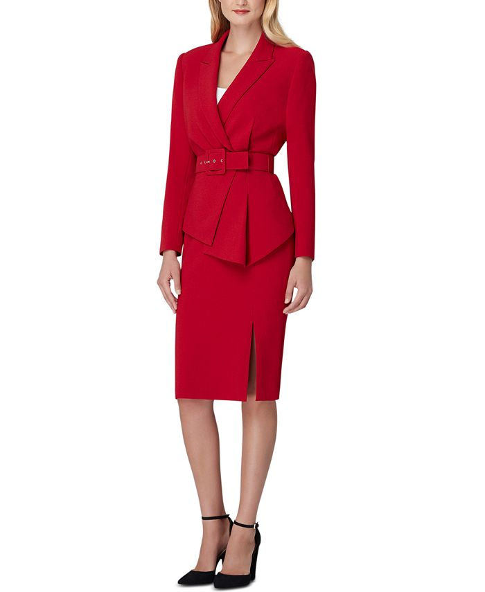 Tahari ASL - Asymmetrical Belted Skirt Suit