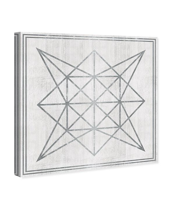 "Oliver Gal Whitewash Wood Geometric Star Canvas Art, 36"" x 36"""