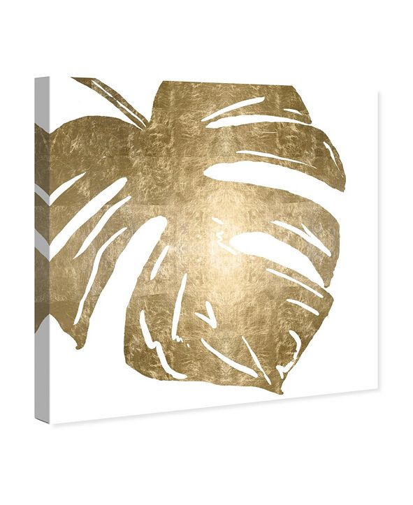"""Oliver Gal Tropical Leaves Square II Gold Metallic Canvas Art, 12"""" x 12"""""""