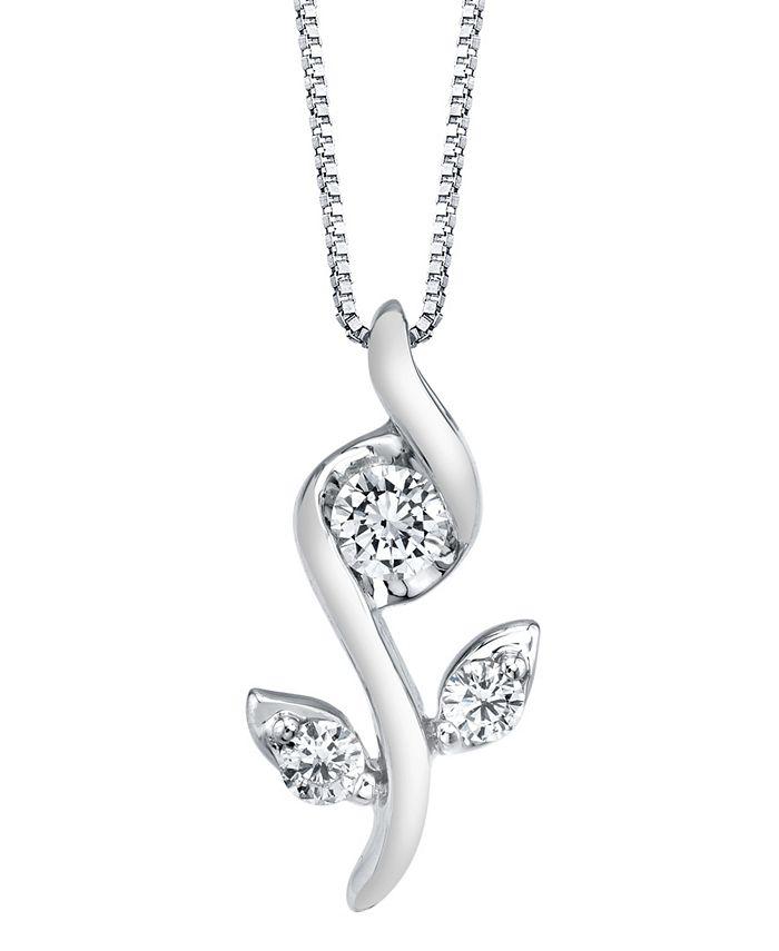 Sirena - 1/0 ct. t.w.Diamond Rose Pendant in 14k White, Yellow or Rose Gold