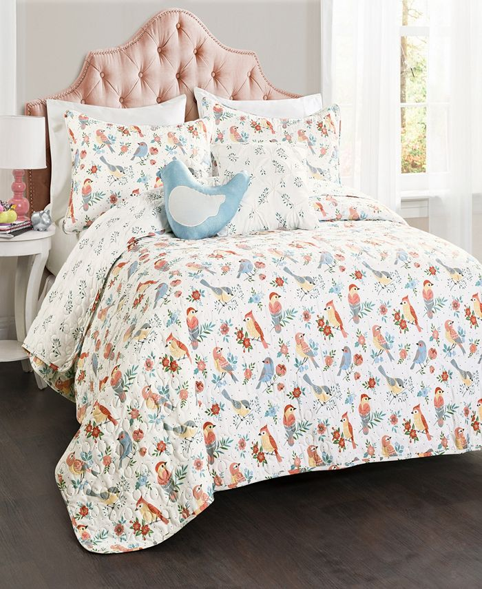Lush Décor - Chirpy Birds Reversible 5-Piece Full/Queen Quilt Set