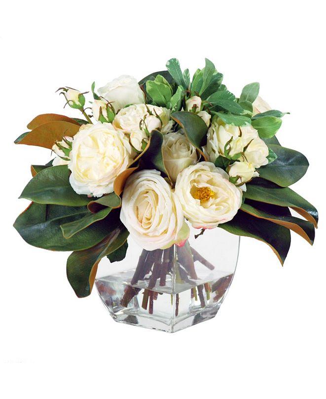 Winward Silks Permanent Botanicals Rose and Magnolia in Vase