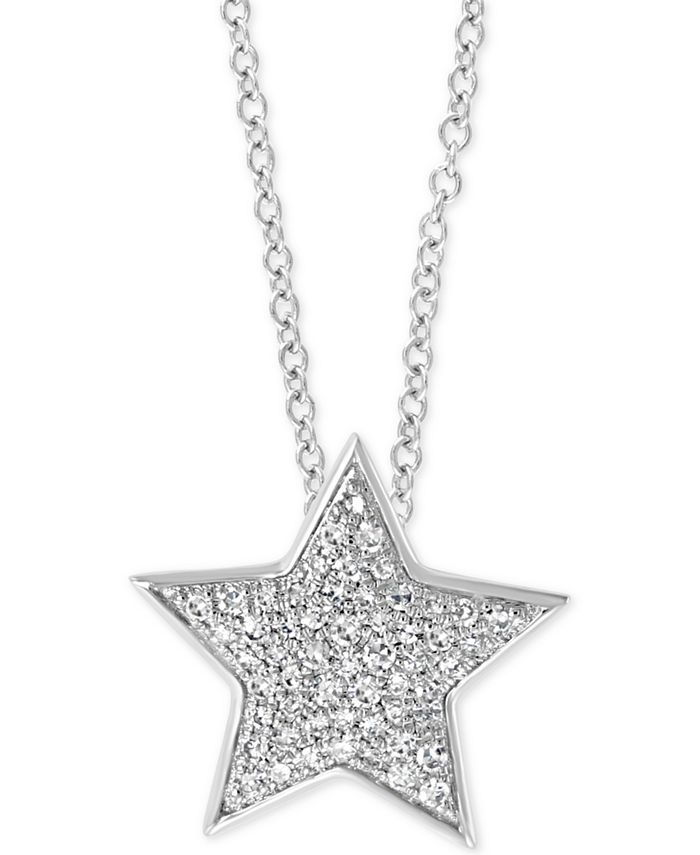 """EFFY Collection - Diamond Star 18"""" Pendant Necklace (1/4 ct. t.w.) in 14k White Gold"""