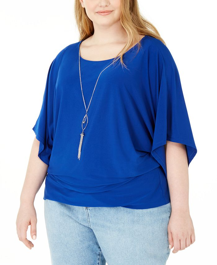 NY Collection - Plus Size Flutter-Sleeve Necklace Top