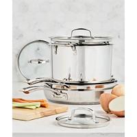 Deals on Belgique Stackable 10-Pc. Stainless Steel Cookware Set