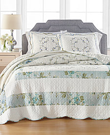 Martha Stewart Collection Quilted Embroidered Floral Bedspread & Sham Collection, Created for Macy's