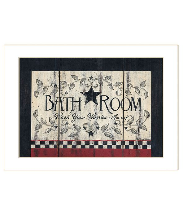 "Trendy Decor 4U Bathroom by Linda Spivey, Ready to hang Framed Print, White Frame, 18"" x 14"""