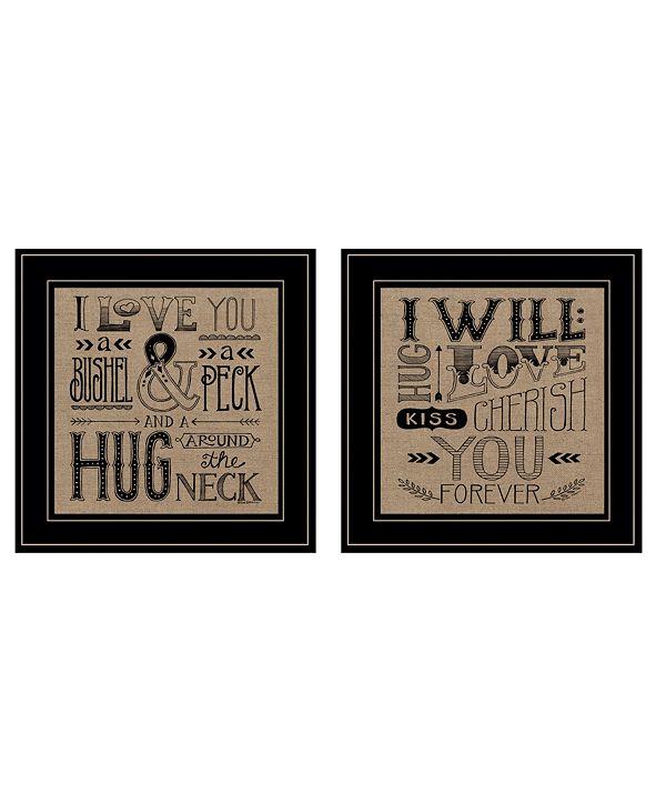 "Trendy Decor 4U Hugs / Forever 2-Piece Vignette by Deb Strain, Black Frame, 15"" x 15"""