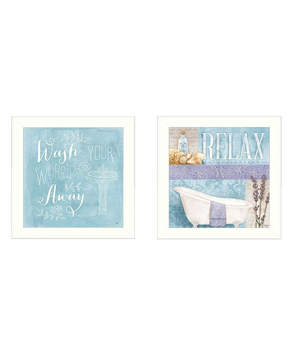 """Trendy Decor 4U Wash Collection By Mollie B., Printed Wall Art, Ready to hang, White Frame, 28"""" x 14"""""""