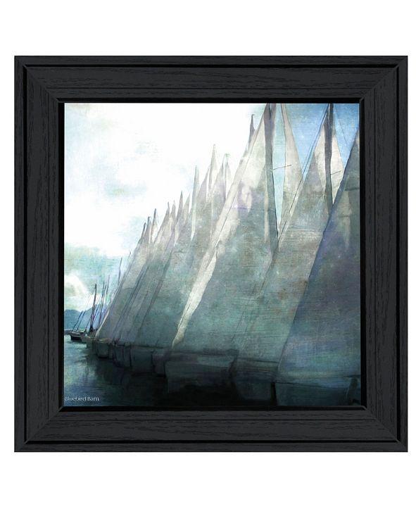 "Trendy Decor 4U Sailboat Marina I by Bluebird Barn Group, Ready to hang Framed Print, Black Frame, 15"" x 15"""