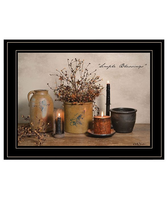 "Trendy Decor 4U Simple Blessings by Billy Jacobs, Ready to hang Framed Print, Black Frame, 19"" x 15"""