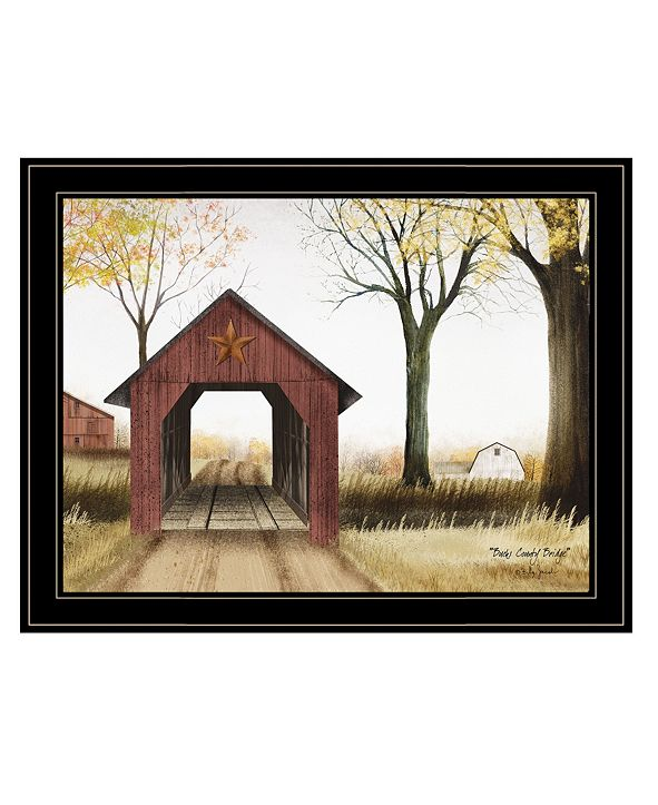 "Trendy Decor 4U Buck County Bridge by Billy Jacobs, Ready to hang Framed Print, Black Frame, 27"" x 21"""