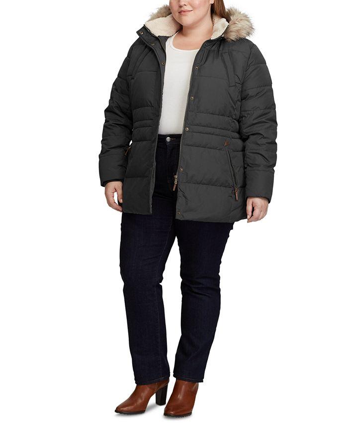 Lauren Ralph Lauren - Plus-Size Interior-Drawstring Down Jacket