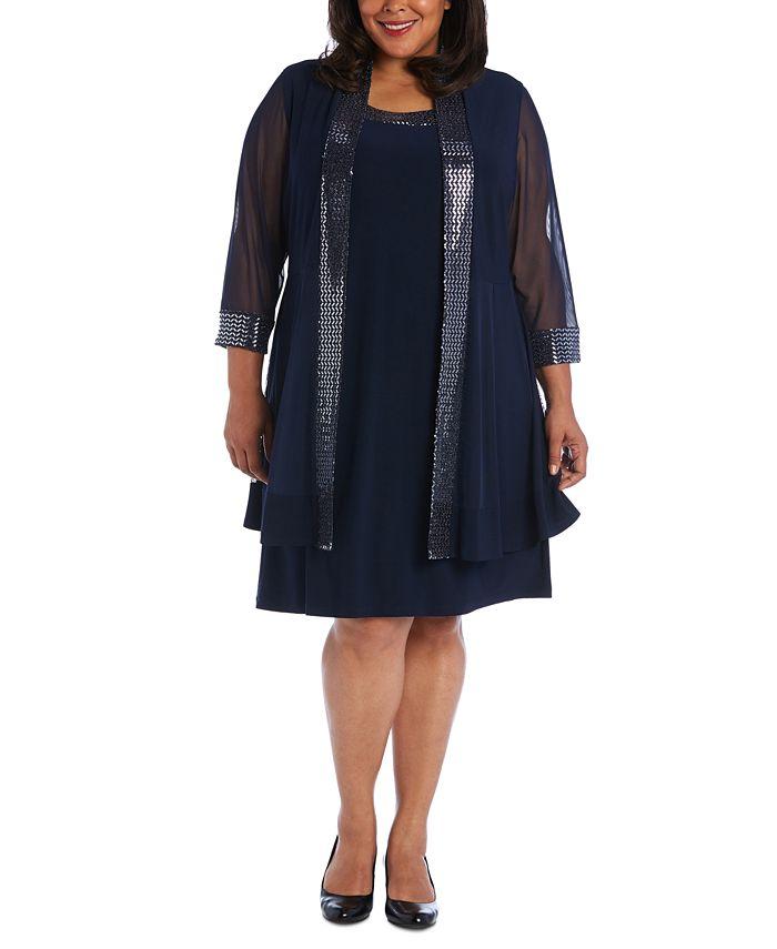 R & M Richards - Plus Size Embellished Dress & Illusion Jacket