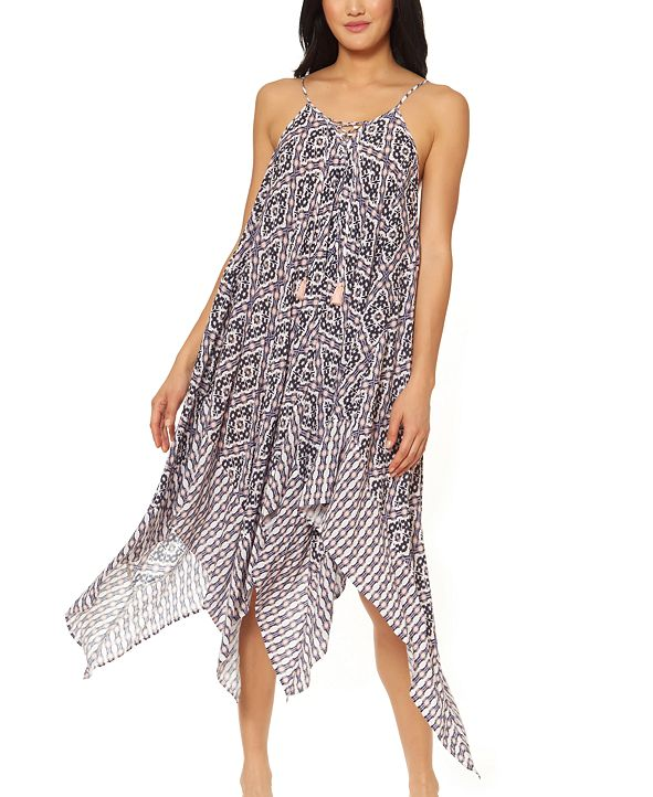Jessica Simpson Venice Beach Printed Lace-Front Cover-Up Dress