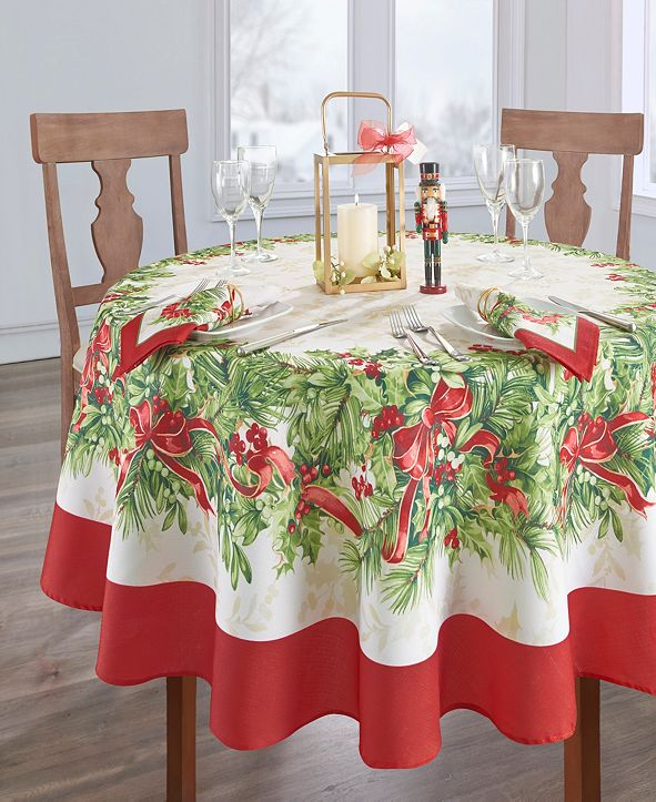 """Elrene Holly Traditions Holiday Tablecloth - 70"""""""