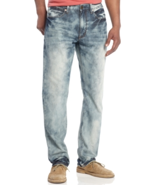 Sean John Jeans Clayton Marble Bleach Slim Fit Straight Leg Jeans