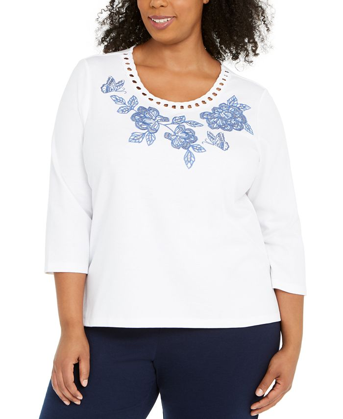 Alfred Dunner - Plus Size Pearls Of Wisdom Embellished Top