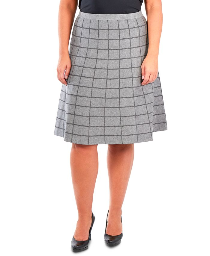 NY Collection - Plus Size Pull-On Window Pane Skirt