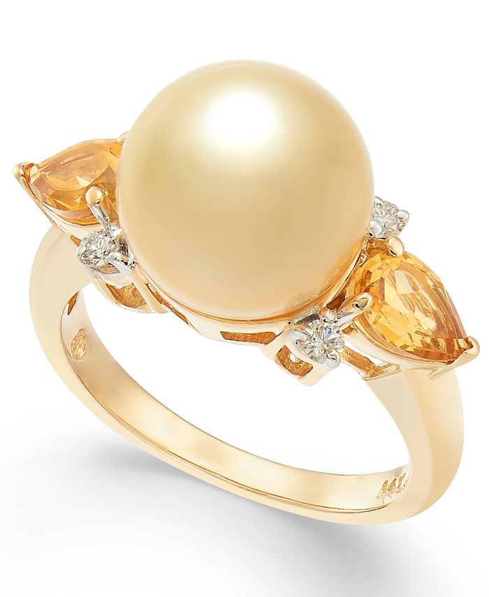 Macy's - Cultured Golden South Sea Pearl (10mm), Citrine (3/4 ct. t.w.) & Diamond (1/10 ct. t.w.) Ring in 14k Gold