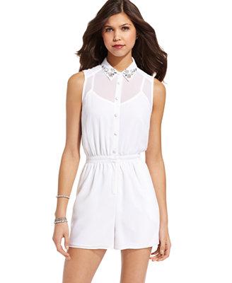 XOXO Juniors Romper Sleeveless Embellished Collar - Juniors Leggings U0026 Pants - Macyu0026#39;s